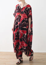 Load image into Gallery viewer, red prints chiffon v neck long tops and vintage casual pants two pieces