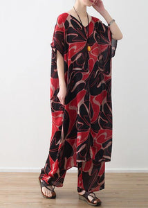 red prints chiffon v neck long tops and vintage casual pants two pieces