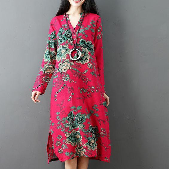 red prints linen dresses plus size clothing side open linen clothing dresses casual long sleeve linen caftans