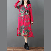 Load image into Gallery viewer, red prints linen dresses plus size clothing side open linen clothing dresses casual long sleeve linen caftans