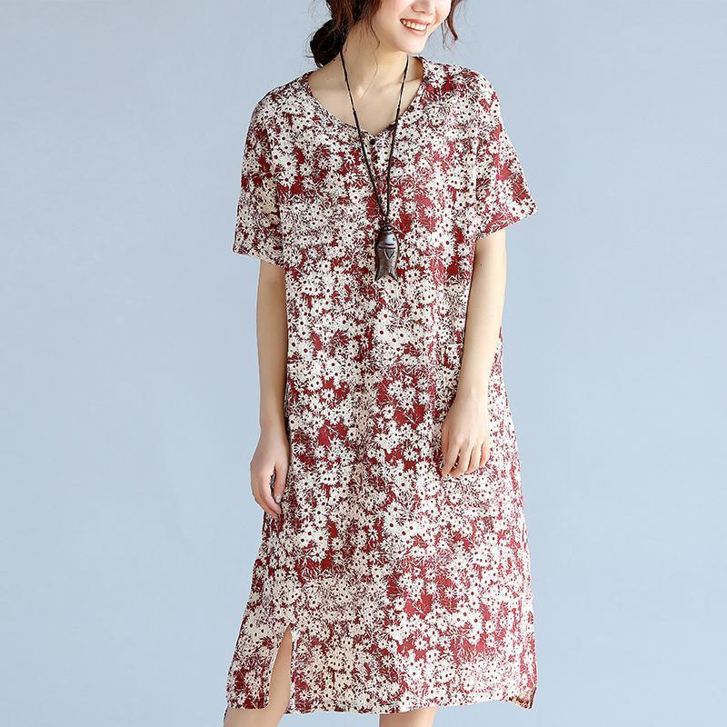 red prints linen shift dresses trendy plus size side open v neck linen dresses