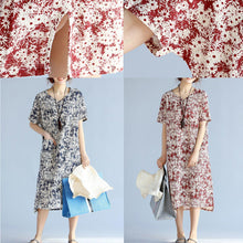 Load image into Gallery viewer, red prints linen shift dresses trendy plus size side open v neck linen dresses