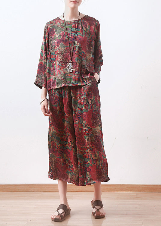 red prints silk women two pieces casual long sleeve tops and elastic waist wide leg pants