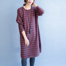 Load image into Gallery viewer, red striped fashion sweater oversize casual long sleeve knit dress