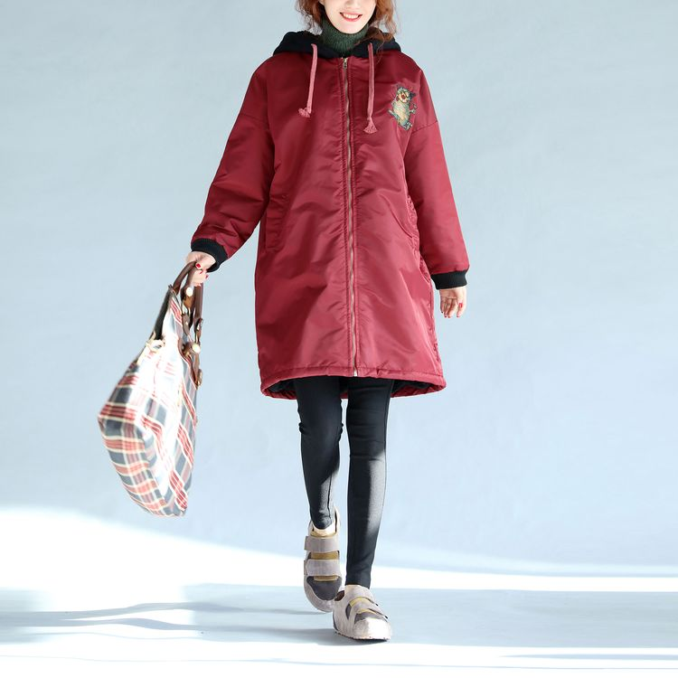 red thick warm zippered trench coats oversize prints long sleeve hooded winter outfits