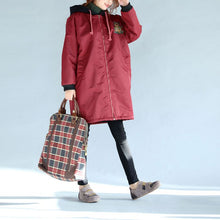 Load image into Gallery viewer, red thick warm zippered trench coats oversize prints long sleeve hooded winter outfits