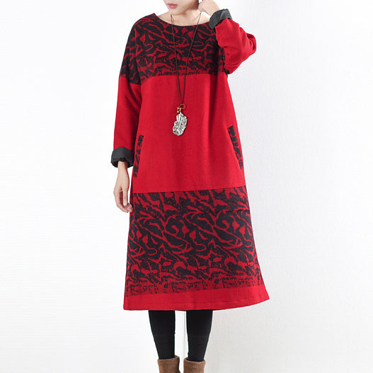 red vintage winter dresses 2021 winter woolen print maxi dress pullover caftans long shirts