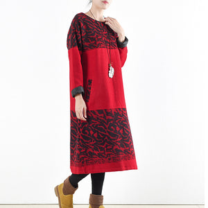 red vintage winter dresses 2017 winter woolen print maxi dress pullover caftans long shirts