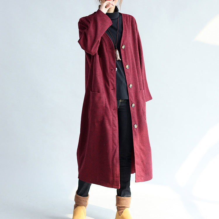 red winter cotton cardigans plus size long sleeve woolen vintage trench coats