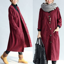 Load image into Gallery viewer, red winter cotton cardigans plus size long sleeve woolen vintage trench coats