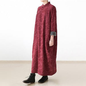 red winter dresses plus size linen dress 2017 new thick velour inside gown caftans vintage style