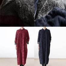 Load image into Gallery viewer, red winter dresses plus size linen dress 2017 new thick velour inside gown caftans vintage style