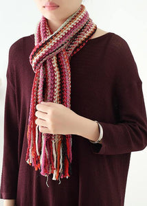 Roter Winter Frauen warmer Schal Strickschals im Nationalstil