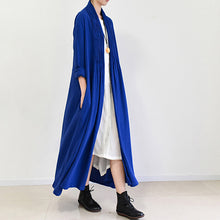 Load image into Gallery viewer, royal blue linen trench coats long cotton maxi coats 2017 fall casual outfits