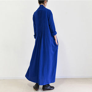 royal blue linen trench coats long cotton maxi coats 2017 fall casual outfits