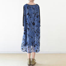 Load image into Gallery viewer, royal blue spring dresses plum flowers print chiffon dress long maxi dresses layered