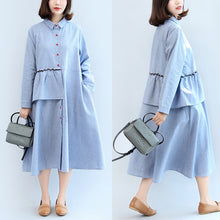 Load image into Gallery viewer, ruffles blue white striped cotton dresses plus size casual