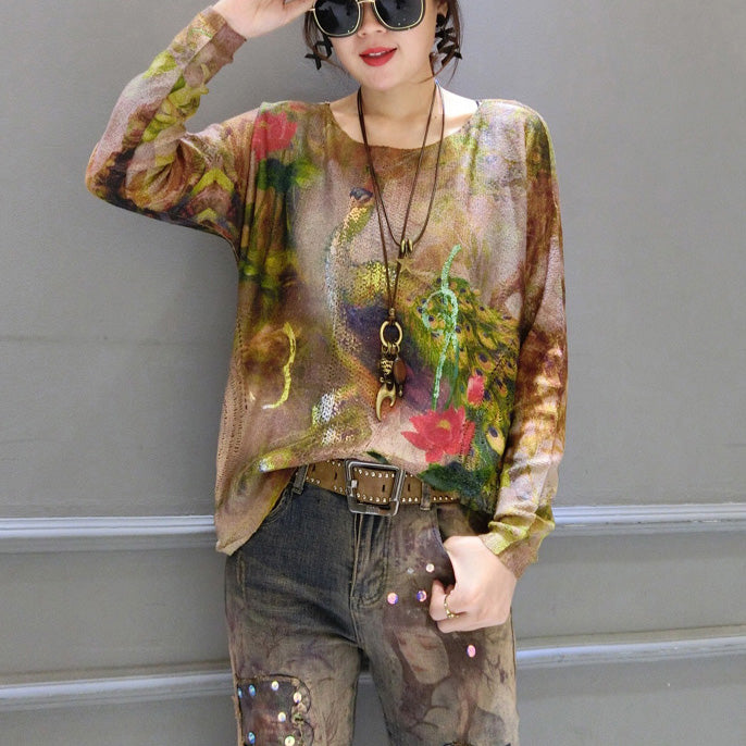 slim fit gold phoenix print cotton knit tops oversize asymmetric Streetwear sweater
