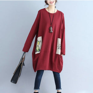 solid cotton pockets prints burgundy casual dresses oversize o neck mid dress