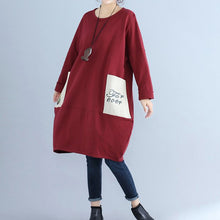 Load image into Gallery viewer, solid cotton pockets prints burgundy casual dresses oversize o neck mid dress