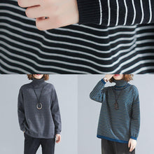 Load image into Gallery viewer, spring gray striped knit blouse high neck trendy plus size spring knitwear