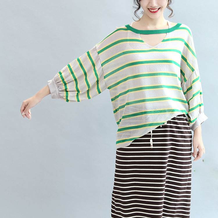 spring green striped cotton tops plus size lantern sleeve t shirt