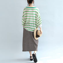 Load image into Gallery viewer, spring green striped cotton tops plus size lantern sleeve t shirt