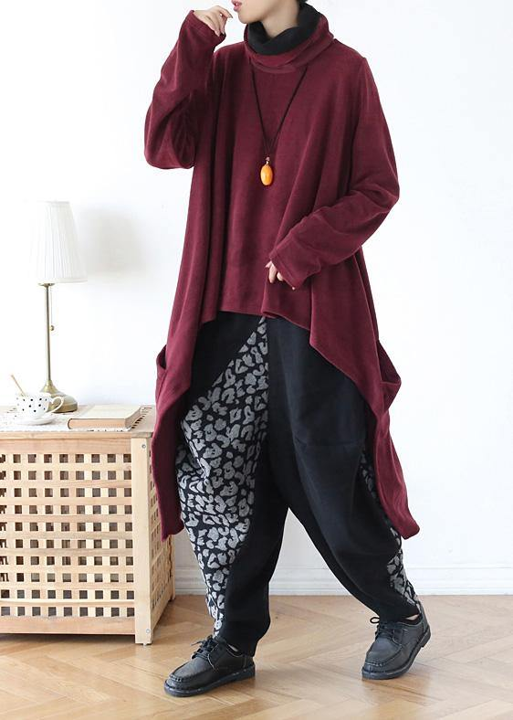 spring high neck red knit sweat tops plus size clothing asymmetric hem knit blouse