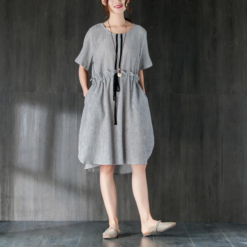 stylish Midi cotton dresses Loose fitting Gray Women Summer Dress with Ruffles and Ribbon