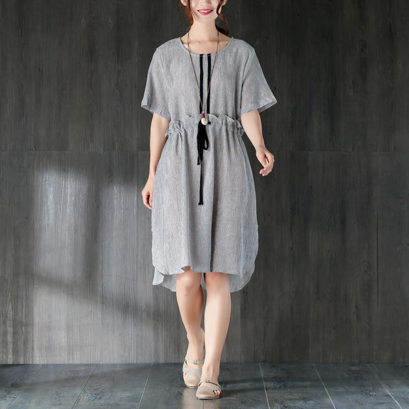 a2306d534bf stylish Midi cotton dresses Loose fitting Gray Women Summer Dress with  Ruffles and Ribbon ...