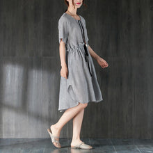 Load image into Gallery viewer, stylish Midi cotton dresses Loose fitting Gray Women Summer Dress with Ruffles and Ribbon