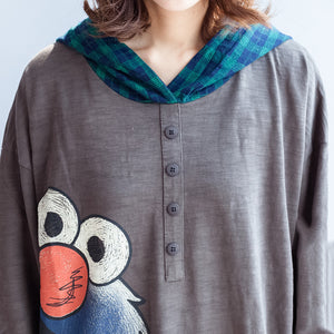 stylish big bird prints gray casual knit cotton tops plus size grid hooded t shirt