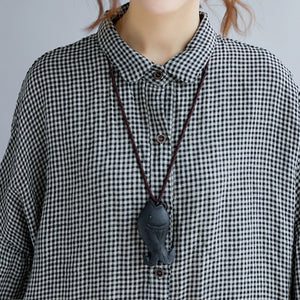 stylish black Plaid cozy cotton t shirt oversize Turn-down Collar cotton blouses Fine long sleeve tops