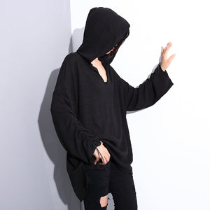stylish black cotton blended oversized Hooded baggy clothing tops women long sleeve asymmetrical design cotton clothing