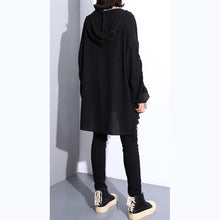 Load image into Gallery viewer, stylish black cotton blended oversized Hooded baggy clothing tops women long sleeve asymmetrical design cotton clothing