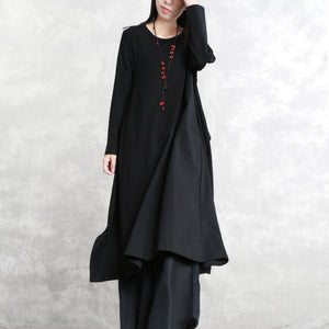 stylish black cotton blended side open dresses plus size o neck pockets New long sleeve asymmetric baggy dresses