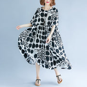 stylish black cotton linen maxi dress oversized short sleeve print baggy dresses cotton gown casual v neck traveling clothing