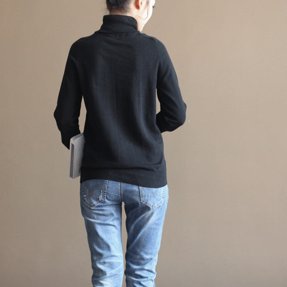stylish black cozy sweater oversized pullover vintage warm winter t shirt knit