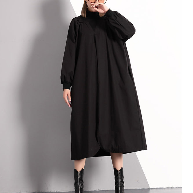 stylish black fall dress plus size clothing Turtleneck cotton blended maxi dress vintage front side open false two pieces cotton blended caftans