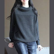 Load image into Gallery viewer, stylish black gray knit sweaters plussize knit sweat tops Fine vintage blouse hooded