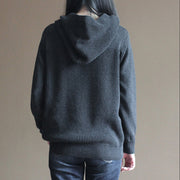 stylish black gray knit sweaters plussize knit sweat tops Fine vintage blouse hooded
