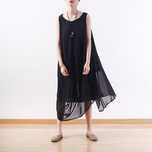 Load image into Gallery viewer, stylish black natural chiffon dress plus size asymmetric hem chiffon casual sleeveless dresses