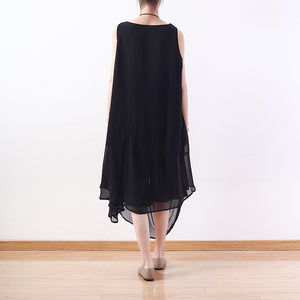 stylish black natural chiffon dress plus size asymmetric hem chiffon casual sleeveless dresses