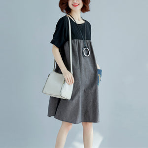 stylish black natural cotton linen dress Loose fitting short sleeve pockets holiday dresses 2018 o neck patchwork cotton linen dresses