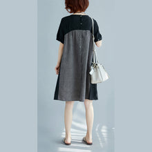 Load image into Gallery viewer, stylish black natural cotton linen dress Loose fitting short sleeve pockets holiday dresses 2018 o neck patchwork cotton linen dresses