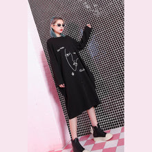 Load image into Gallery viewer, stylish black natural oversized linen cotton dress zippered baggy 2018 O neck midi dress