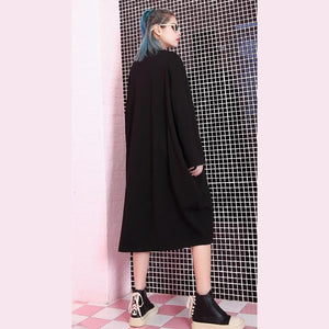 stylish black natural oversized linen cotton dress zippered baggy 2018 O neck midi dress