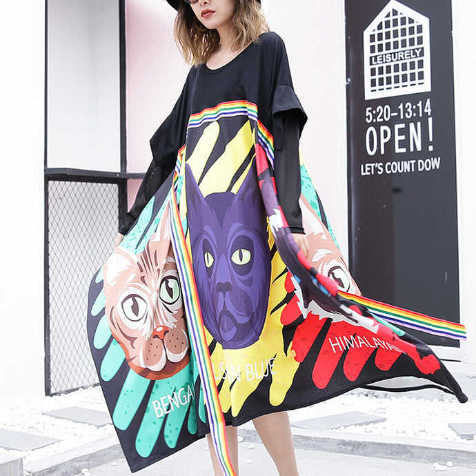 stylish black print cotton dress Loose fitting patchwork tulle cotton gown casual asymmetric hem kaftans