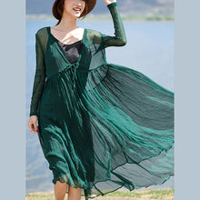 Load image into Gallery viewer, stylish blackish green silk caftans plus size v neck silk maxi dress boutique long sleeve baggy dresses large hem long dresses