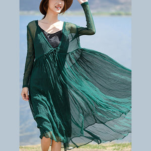 stylish blackish green silk caftans plus size v neck silk maxi dress  boutique long sleeve baggy dresses large hem long dresses